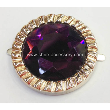 Metallic Base with Large Purple Glass Stone Centered Shoes Trims