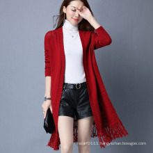 Lady Fashion Viscose Polyester Knitted Winter Fringe Cardigan (YKY2056)