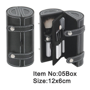 5pcs cosmetic brush set with black PU cylinder box