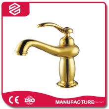 single lever top quality golden plating basin mixer