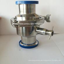 Sanitäres Edelstahl-Tri-Klemm-Rückschlagventil mit Abfluss