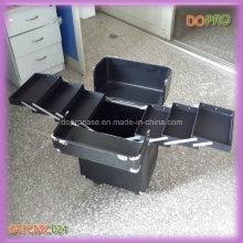 Étui de maquillage professionnel en aluminium noir haut de gamme sur roues (SATCMC024)