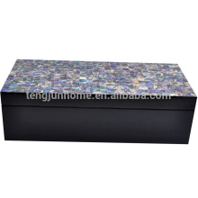 New Zealand Paua Shell Jewelry Box with Black Paint Natural Crafts