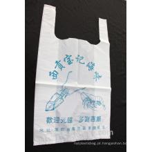 T-shirt saco de plástico para compras e supermercado