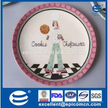 Nova placa de bolo de porcelana para casamento, cerâmica cookie chapa china manufatura