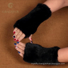 Different color quality fancy half fur gloves
