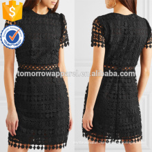 Short Sleeve Black Polyester Guipure Lace Mini Summer Dress Manufacture Wholesale Fashion Women Apparel (TA0254D)