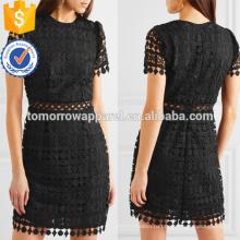 Короткий рукав черный полиэстер Гипюр кружева мини летнее платье Производство Оптовая продажа женской одежды (TA0254D)