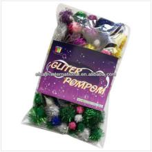 pom poms de décoration de mariage, pom poms de paillettes d'artisanat, pom pom décoratif pompon