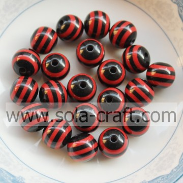 2014 Wholesale 10MM 500Pcs Black & Red Zebra African Wedding Latest Design Shamballa Round Pandora Jewelry Beads