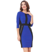Kate Kasin Womens 3/4 Sleeve Optical Illusion Bodycon Office Lady Pencil Dress KK000222-2