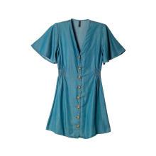 Vestido corto de mezclilla con botones y manga corta con cuello en V informal para mujer