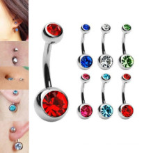 Double Gem Belly Rings Surgical Steel Naval Rings