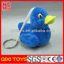 Chaveiro de pato de pelúcia macio pato azul pequeno chaveiro de brinquedo de pelúcia bonito