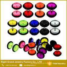 Rote grüne Farbe Glitter 16G Acryl gefälschte Ohrstöpsel Tunnel