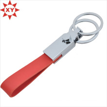 Custom Red Leather Strip Key Chain with Two Key Rings
