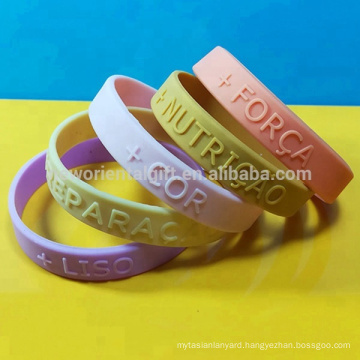Custom Embossed silicone wristbands , Embossed silicone bracelets