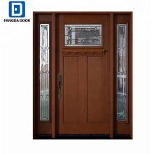 Fangda haute qualité grain de bois grp fiberglass porte extérieure porte d'entrée conception