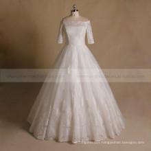 Princess Off Shoulder Applique Lace & Beads 1/2 Sleeve Wedding Party Dress