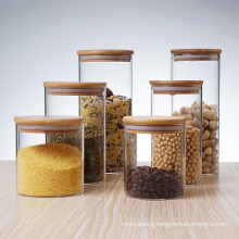 High Borosilicate Glass Jars Tanks Cans with Wooden Lid for Moisture-Proof Sealed Storage