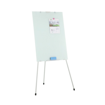 Tripod tempered glass flipchart whiteboard with pen holder