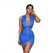 2021 OEM China Factory Summer Dresses Bodycon Sexy Denim Dress with Belt