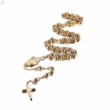Colar de pingente de cruz de ouro rosário de aço inoxidável com corrente