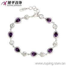 72793 Fashion Luxury Rhodium Heart-Shaped CZ Diamond Imitation Jewelry Bracelet for Women