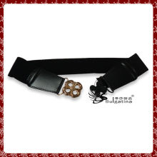 Fashion black leather belt design,elastic diamante belt