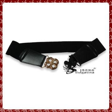 Moda design de cinto de couro preto, elástico cinto diamante