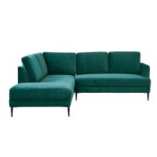 Metal Legs Living Room Green Velvet Modular Couch Home Furniture Fabric Sectional Corner Sofa