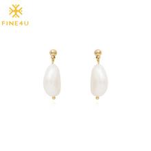 2021 Brass Gold Plated Hypoallergenic Big Freshwater Pearl Women Retro Earring