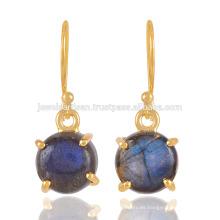 Prom conjunto Flashy Labradorita piedras preciosas con 18 quilates de oro plateado Silvre pendientes para las mujeres