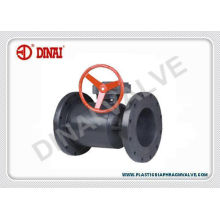 Upvc / Pvc 2 Way Full Bore Flange Plastic Ball Valve Worm-gear Operation