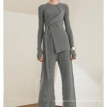PK18ST093 terno de moda de suéter de cashmere túnica para mulher