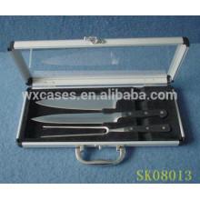 caja de aluminio fuerte y portátil para herramientas de barbacoa conjunto