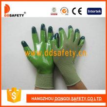 Зеленый нейлон с зеленый Нитрила перчатки-Dnn512
