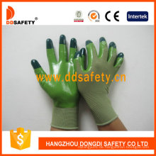 Grünes Nylon mit grünem Nitril-Handschuh Dnn512