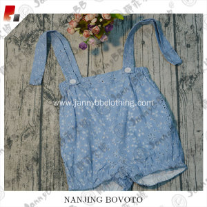 Blue viscose eyelet girls customized overalls