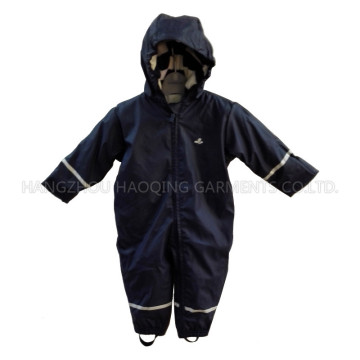 Solid Dark Blue Reflective Waterproof PU Jumpsuit