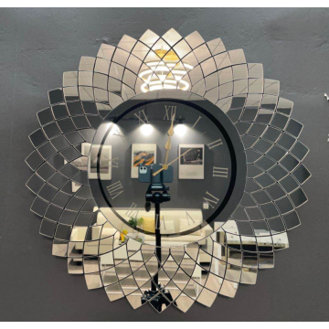 Irregular mirror wall clock for home decoration