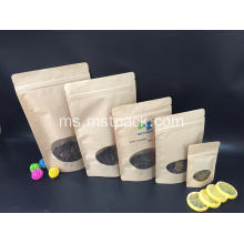 Kraft Paper Reclosable Stand Up Pouch dengan Zipper