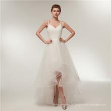 Alibaba V Neck Backless curto frente longa volta Vestidos de casamento vestido de noiva