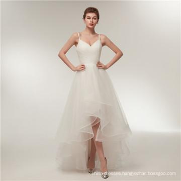Alibaba V Neck Backless short front long back Wedding Dresses Bridal Gown
