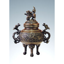 Eastern Carving Statue Kylin Censer Bronze Skulptur Tpxl-001