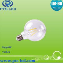 Luz de lâmpada de filamento G95 6W LED com alta Lumen