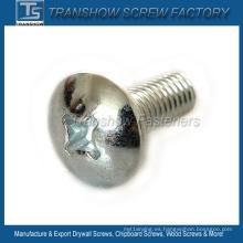 Tornillo de cabeza cilíndrica con receso cruzado y acero galvanizado