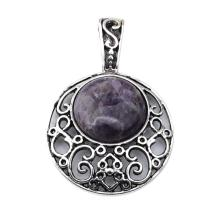 Natural Amethyst 20MM Cabochon Alloy Gemstone Pendant