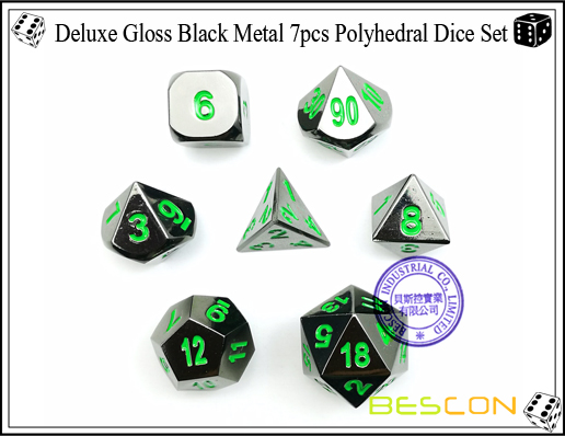 Deluxe Gloss Black Metal 7pcs Polyhedral Dice Set