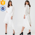 White Lace Long Sleeve Asymmetric Hem Maxi Summer Dress Manufacture Wholesale Fashion Women Apparel (TA0290D)
